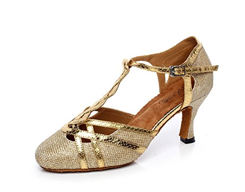 JSHOE Femmes T-strap Glitter Tango Salsa Mariage Chaussures De Danse Latine Ferm
