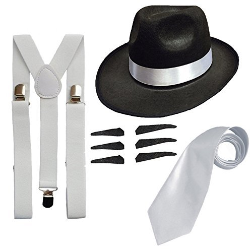 RS FASHIONS Men's Deluxe Gangster Fancy Set Trilby Hat + Suspender Brace +Tie Men: One Size Black (Great Gatsby Costumes For Men)
