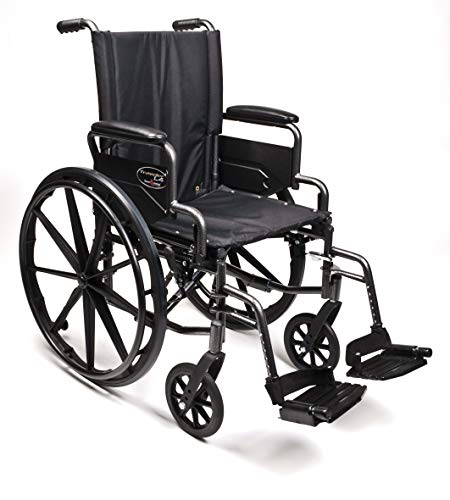 "Everest & Jennings Traveler L4 Lightweight Wheelchair, Adjustable-Height Desk Arms & Swingaway Footrests, 18x16"" Seat, Silvervein Color"