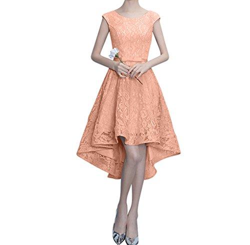 Traumhaft Perlen Partykleider Linie Abendkleider Charmant Spitze Ausschnitt Figurbetont Lang Rosa Pfirsisch Damen A wq0085X