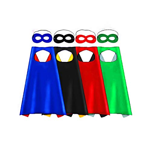Toy for 3-10 Year Old Boys, Christmas Best Gifts Present Superhero Capes for Kids Dress up Party Favors Toddlers Costumes 4 Pack Party Supplies Reversible for Boys Girls ()