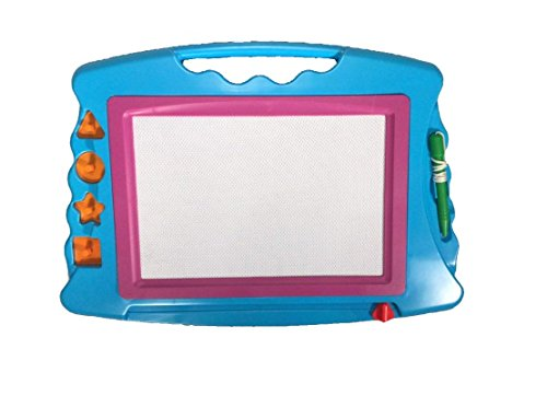 T'T Bear Magnetic Drawing Board, Huge Sketch board. Etch with pen or 4 Included Stampers. Erases Fully with Sliding (Blue Pink)