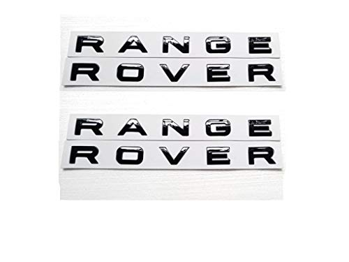 2x New Black RANGE ROVER GLOS Letters Hood Trunk Tailgate Nameplate EMBLEM Badge