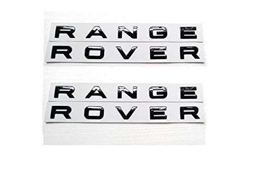 (2x New Black RANGE ROVER GLOS Letters Hood Trunk Tailgate Nameplate EMBLEM Badge)