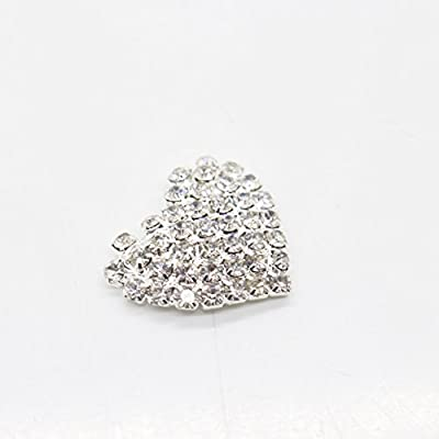 AngHui ShiPin 20pcs 22x22mm Heart Shaped Rhinestone Buttons Slider for Sew On Silver Plated Alloy Rhinestone Button Flatback Crystal Button For Baby Hair Accessories