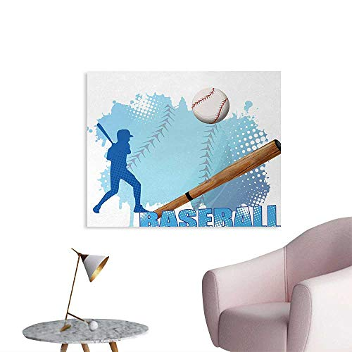 Tudouhoho Baseball Space Poster Silhouette of A Baseball Player with Basic Game Icons Kicking with Bat Sports Wallpaper Blue and White W36 -