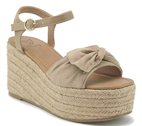Beast Fashion Nell-01 Suede Bow Open Toe Espadrille Platform Wedge Sandal (8.5, Taupe) (Platform Wedge Bow)