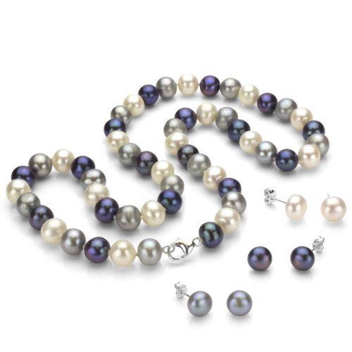 Sterling Silver 8-8.5m Dyed-multicolor Freshwater Cultured Pearl Necklace and 3 Pairs Stud Earrings by La Regis Jewelry
