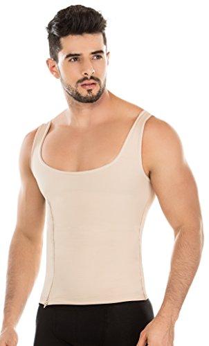 ShapEager Vest High Abdomen Compression Shirt for Men Body Shaper Colombian Faja Beige ()