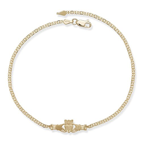 Solid 14k Gold 10 inch long Claddaugh Ankle Bracelet by JewelryWeb