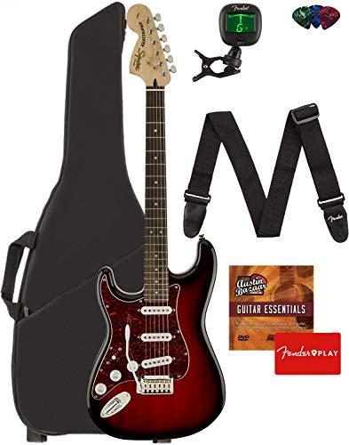 Fender Squier Standard Stratocaster Left-Handed Guitar – Laurel Fingerboard, Antique Burst Bundle with Gig Bag, Tuner, Strap, Picks, and Austin Bazaar Instructional DVD