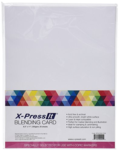 Express Alcohol - Copic Markers 8-1/2 by 11-Inch Blending Card by X-Press It, 25 Sheets
