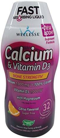 Wellesse Calcium & Vitamin D3, 1000mg, Natural Citrus Flavor, 16-Ounce Bottles (Pack of 2)