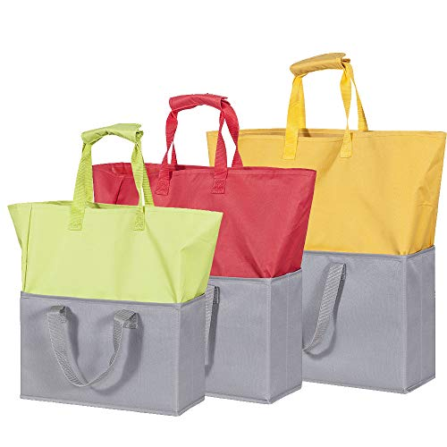 STORAGE MANIAC Extendable Reusable Grocery Shopping Bags, 3-