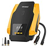 Tire Inflator, TEROMAS Air Compressor Pump, 12V DC Portable Auto Tire Pump with Digital Display up to 150PSI for Car, Bicycle and Other Inflatables (yellow)