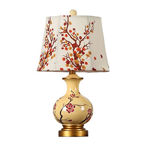 LOFAMI Luxury Retro Painted Peach Pattern Resin Bedroom Living Room Table Lamp, Creative Cloth Shade, e27