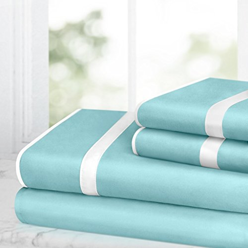 Egyptian Luxury Bed Sheet Set - 1500 Hotel Collection w/ Beautiful Satin Band Trim - Ultra Soft Wrinkle & Fade Resistant Microfiber, Hypoallergenic 4 Piece Set- Queen - Aqua/White