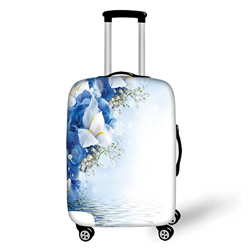 Dreamy Hydrangea (Travel Luggage Cover Suitcase Protector,Light Blue,Blue Hydrangeas and White Irises over The Sea Romantic Bouquet Dreamy,Blue Light Blue White,for Travel)