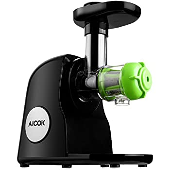 Aicok Juicer Slow Masticating Juicer Extractor, Cold Press Juicer Machine, Quiet Motor, with Juice Jug and Brush, High Nutrient Fruit and Vegetable Juice, Black