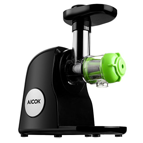 Aicok Slow Masticating Juicer Extractor, Cold Press Juicer, Quiet Motor, with Juice Jug and Brush, High Nutrient Fruit and Vegetable Juice, Black