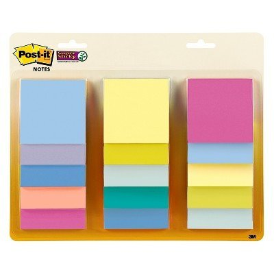 Post-it 12ct Notes 3'' x 3'' Pastel Multi-Colored