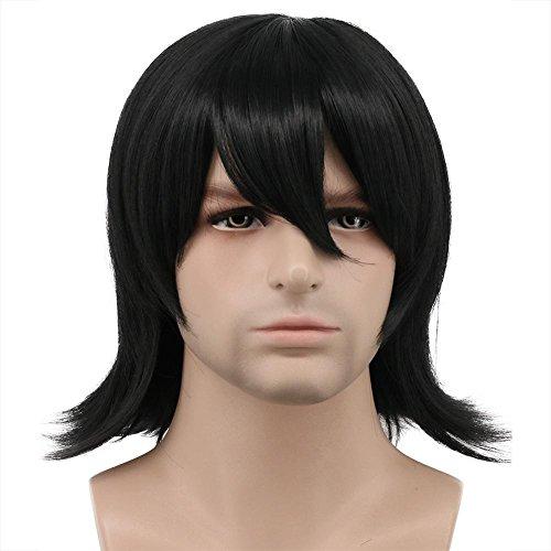 Karlery Men Short Bob Wave Black Wig Halloween Costume Wig Anime Cosplay Wig