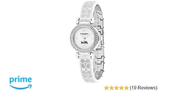Coach Womens 14502201 Madison Signature Silver Stainless Bangle Glitz Watch