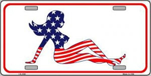 American Flap Flag Mud (Smart Blonde Patriotic American Flag Mud Flap Girl Novelty Vanity Metal License Plate Tag Sign)
