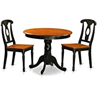 East West Furniture ANKE3-BLK-W Antique Black 3 Piece Dining Room Set Finished With 2 Wood Chairs