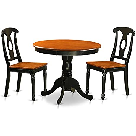 East West Furniture ANKE3 BLK W Antique Black 3 Piece Dining Room Set Finished With 2 Wood Chairs