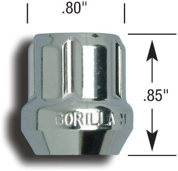 Gorilla Automotive 20023SD Acorn Open End Chrome Small Diameter Lugs 12mm x 1.25 Thread Size Pack of 20