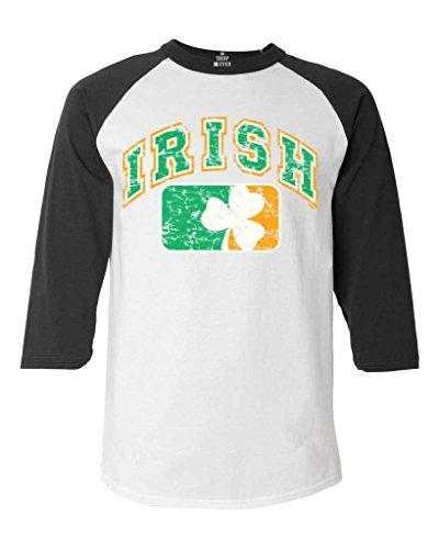 Shop4Ever Vintage Irish Flag Shamrock Baseball Shirt Saint Patrick's Day Raglan ShirtX-Large White/Black 6785