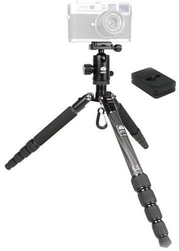 Sirui T-025X Carbon Fiber Tripod Kit with C-10S Head, TY-C10 QR Plate, and Microfiber Cleaning Cloth by Sirui
