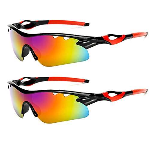 Sports Sunglasses Glare UV400 Protection Polarized HD Night Vision for Motorcycle Riding Glasses (2 PACK) (red-black)