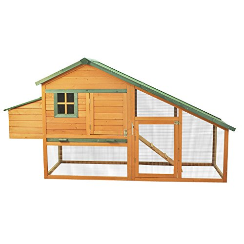"Pawhut 88"" Wooden Backyard Slant Roof Hen House Chicken Coop"
