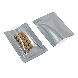 200 Pieces Silver Aluminum Foil Smell Proof Pouch Heat Seal Clear Plastic Open Top Flat Vacuum Packaging Mylar Bag Food Powder Small Sample Mylar Storage with Tear Notch (1.9x2.7 inch)