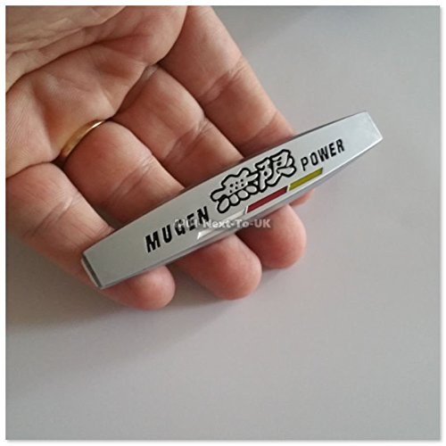 2x Mugen Power SILVER MATT HQ Metal Car Auto Fender Badge Side Skirt E SJH5164SR