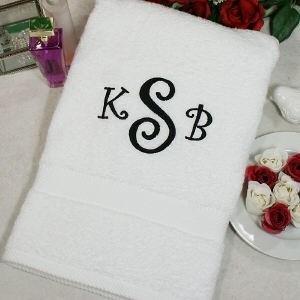 Embroidered Monogram Initials Bath Towel