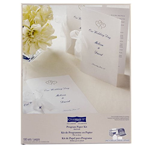 Paper Printable Program (Wedding Occasions Half-Fold Program Paper Kit, White with Platinum Hearts by Celebrate It)