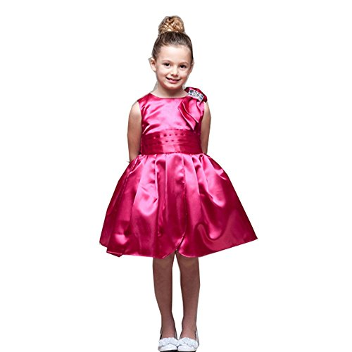 Crayon Kids Little Girls Fuchsia Jewel Bow Shoulder Tulip Petal Party Dress 6 (Tulip Petal Dress)