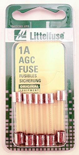 Littelfuse AGC1BP AGC Series 3AG Glass Cartridge Fuse - Pack of 5 (Series Glass Fuses Agc)