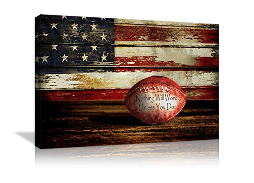 (Retro American Flag Football Canvas Prints Wall Art US USA American Flag on Wooden Board Rustic Sports Decor Home Picture for Bedroom Living Room Thin Red Line Paintings Posters Framed Ready to Hang)