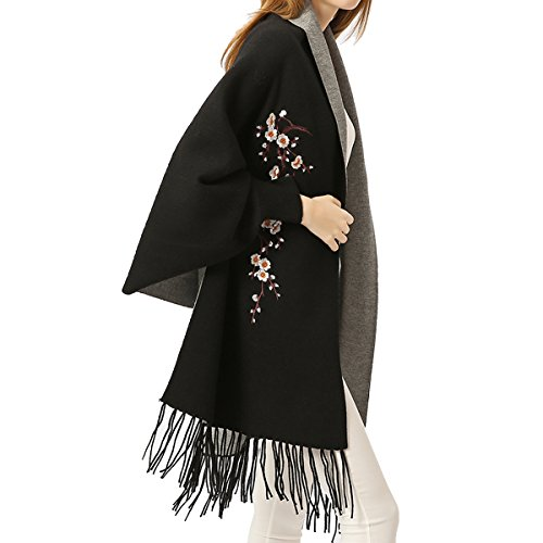 Women Embroidery Cloak Poncho Shawl Wrap Fashion Scarf with Sleeve Tassels Pashmina (Black Gray)