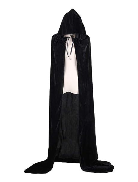 Black Velvet Hooded Halloween Fancy Dress Full Length Cape Cloak
