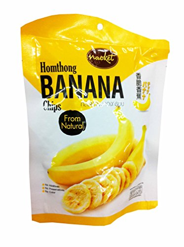 3 Packs of Hom Thong Banana Chips with Natural Taste, delicious Fruit Snack By Nacket, Thailand.(43 G/ (Banana Flasher Costume)