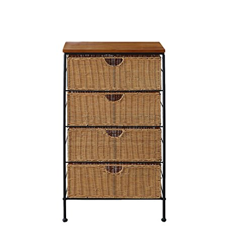 4D Concepts 4-Drawer Wicker Stand, Wicker/Metal (Small Drawers Wicker)
