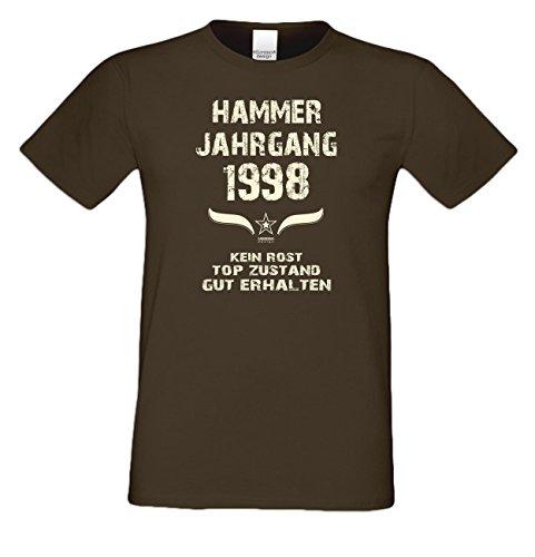 Geburtstagsgeschenk T-Shirt Geschenkidee zum 19. Geburtstag Herren Männer Hammer Jahrgang 1998 Geburtsjahr Übergrößen Farbe: braun Gr: XXL