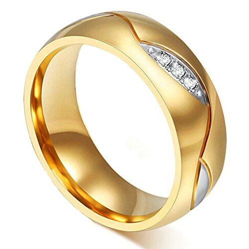 (Forever Love) 6MM Stainless Steel Womens Engagement Rings Leaf of Love Zircon Gold Size 5 - Adisaer