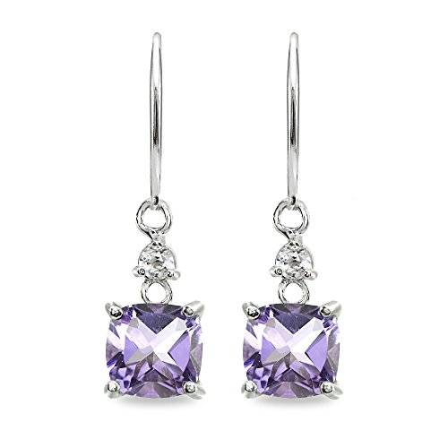 Sterling Silver Amethyst & White Topaz 7mm Cushion-cut Dangle Leverback Earrings by GemStar USA (Image #1)
