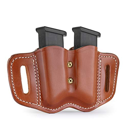 1791 GUNLEATHER 2.2 Flex Mag Holster with Adjustable Retention Screws - Double Mag Pouch for Polymer & Metal Double Mags, OWB Magazine Pouch for Belts - Classic Brown
